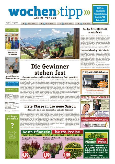 Wochen-Tipp Achim vom 11.09.2019