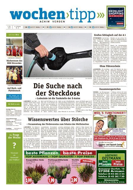 Wochen-Tipp Achim vom 02.10.2019