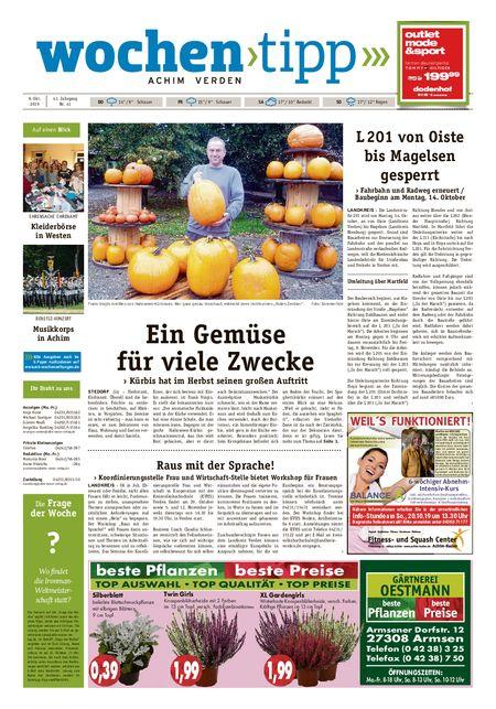 Wochen-Tipp Achim vom 09.10.2019