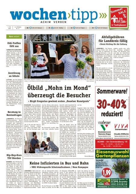 Wochen-Tipp Achim vom 01.07.2020