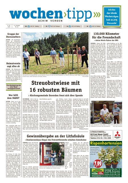Wochen-Tipp Achim vom 08.07.2020