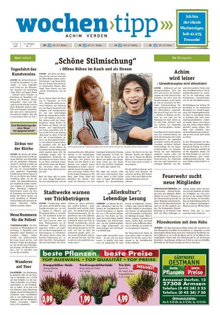 Wochen-Tipp Achim vom 09.09.2020