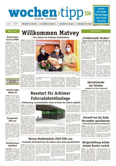 Wochen-Tipp Achim vom 04.11.2020