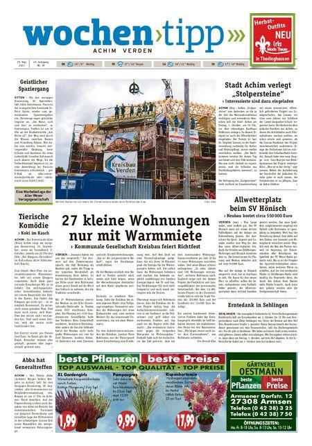 Wochen-Tipp Achim vom 29.09.2021