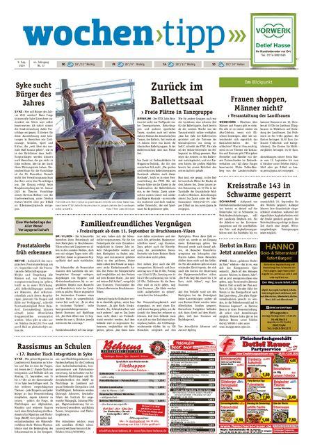 Wochen-Tipp Nord/West vom 09.09.2020