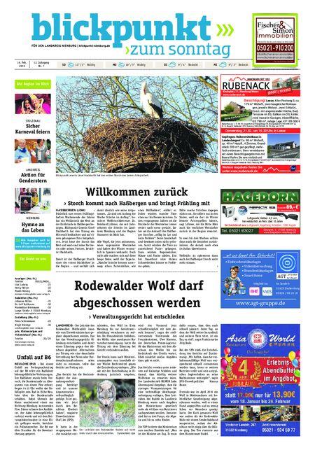 Blickpunkt Nienburg am Sonntag vom 16.02.2019