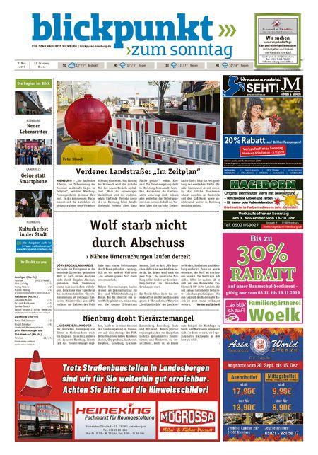 Blickpunkt Nienburg am Sonntag vom 02.11.2019