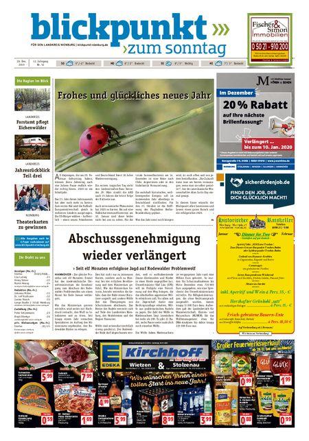 Blickpunkt Nienburg am Sonntag vom 28.12.2019