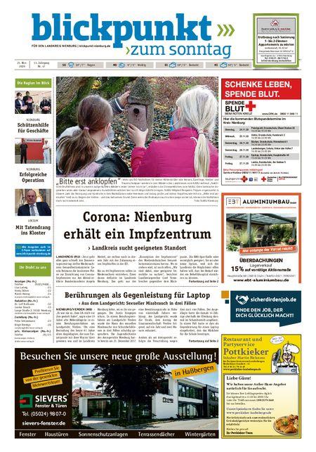 Blickpunkt Nienburg am Sonntag vom 21.11.2020
