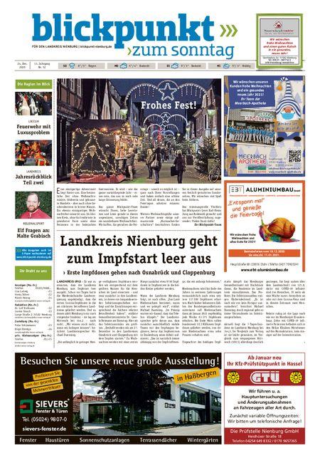 Blickpunkt Nienburg am Sonntag vom 24.12.2020
