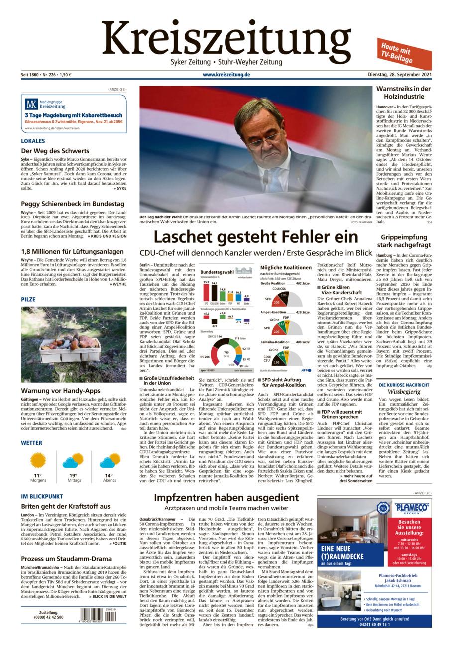 Kreiszeitung Syke/Weyhe/Stuhr vom Dienstag, 28.09.2021