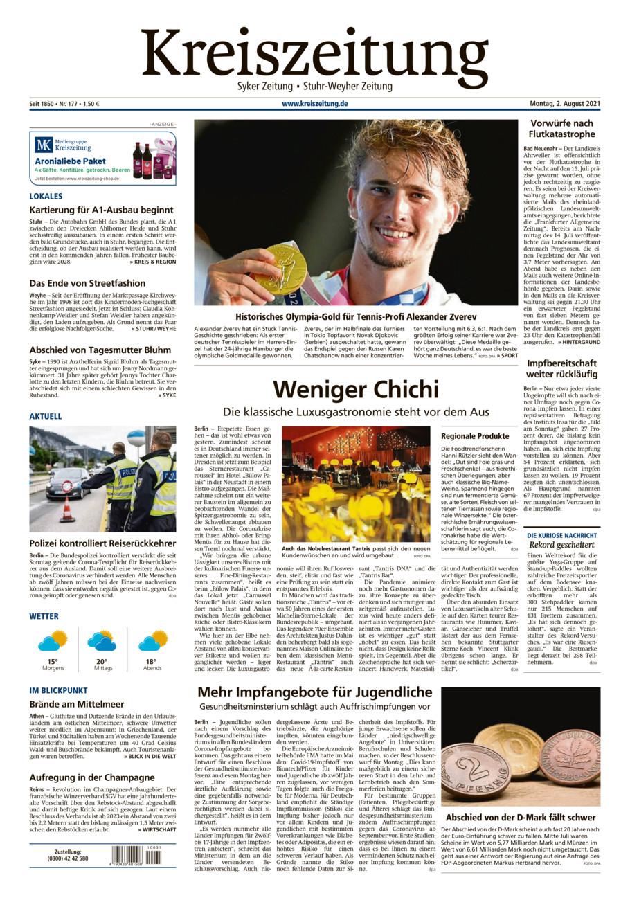 Kreiszeitung Syke/Weyhe/Stuhr vom Montag, 02.08.2021